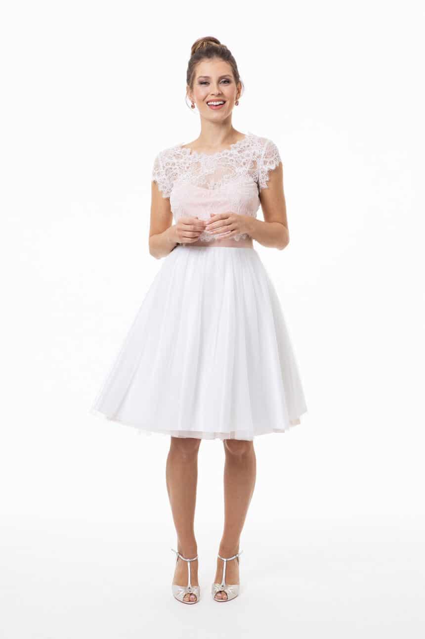 2-teiliges Brautkleid, kurz