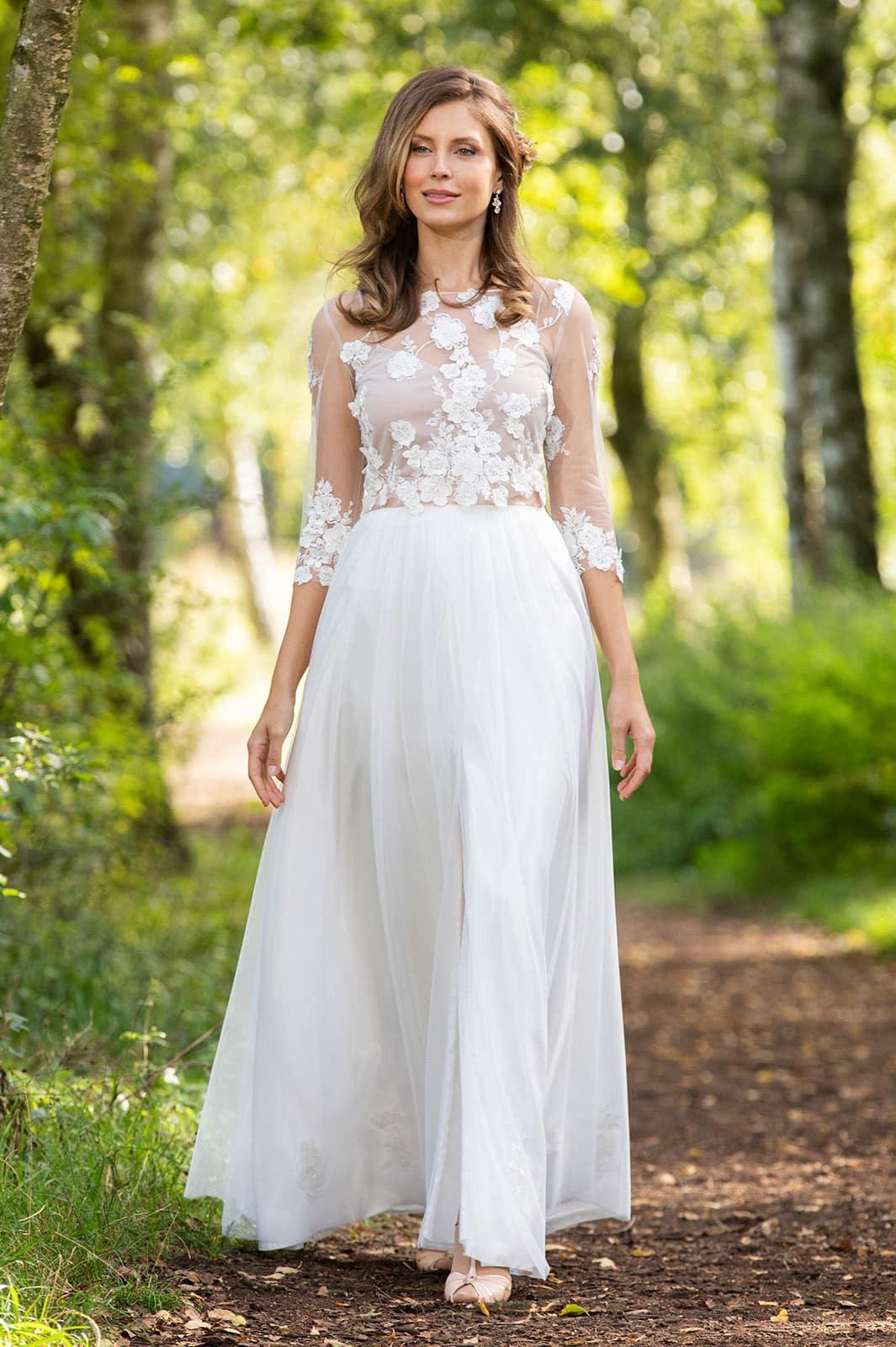 2-teiliges Brautkleid aus 3D-Spitze