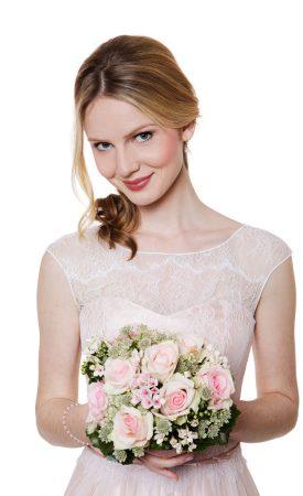 Vintage Brautkleid aus Spitze und Tüll nude