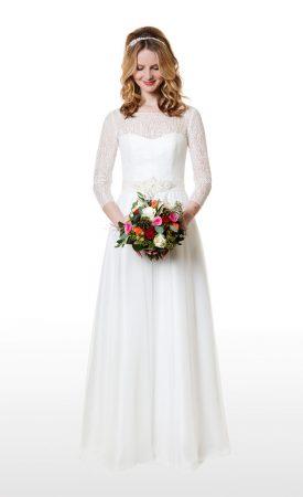 Vintage Brautkleid mit langen Spitzenärmeln