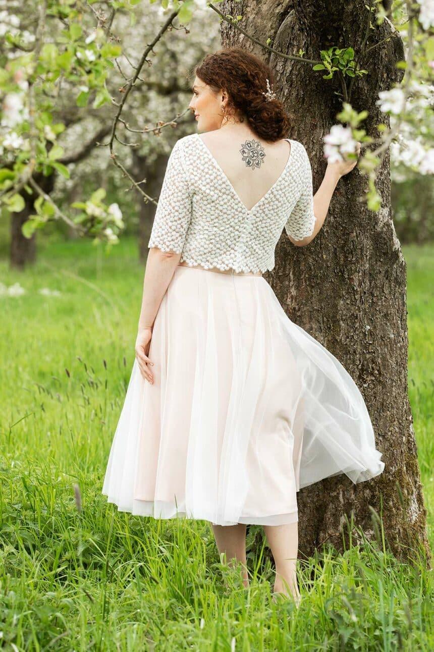 2-teiliges Brautkleid Farbe blush