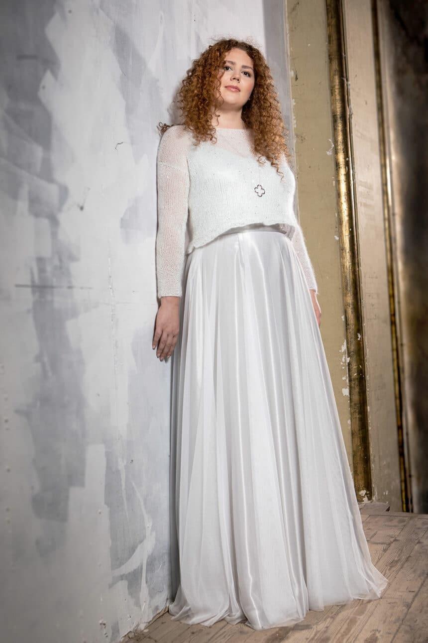 2-teiliges Brautkleid mit Pulli