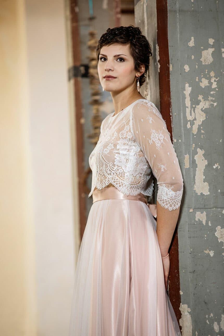 2-teiliges Brautkleid Vintage blush